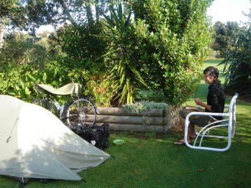 cyclist camp site Tauranga